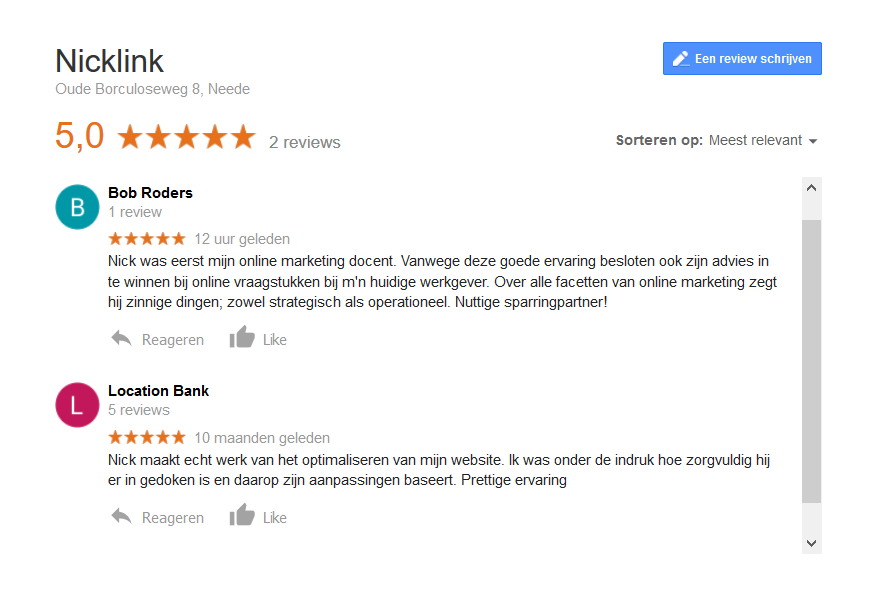 Reviews 5 sterren NickLink op Google
