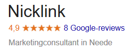 Reviews NickLink Google 4,8 Marketing specialist digital marketing bureau