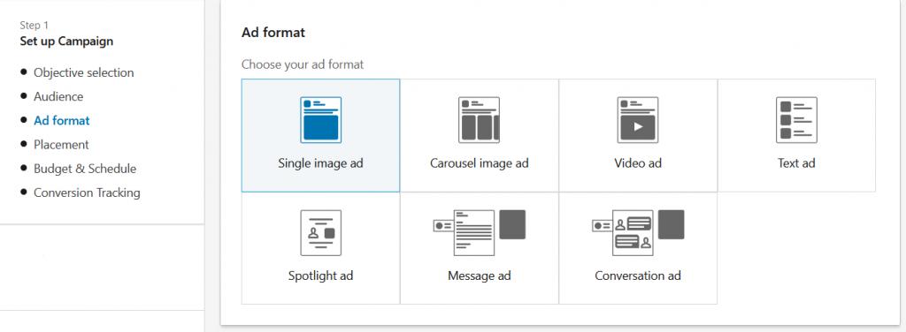 Mogelijke soorten LinkedIn advertenties in een overzicht