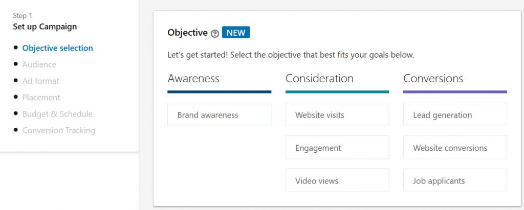 mogelijke doelen LinkedIn Ads