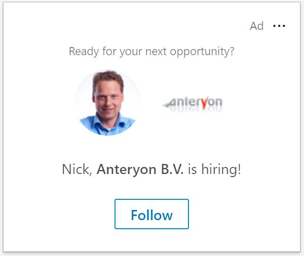 voorbeeld van een LinkedIn spotlight ad